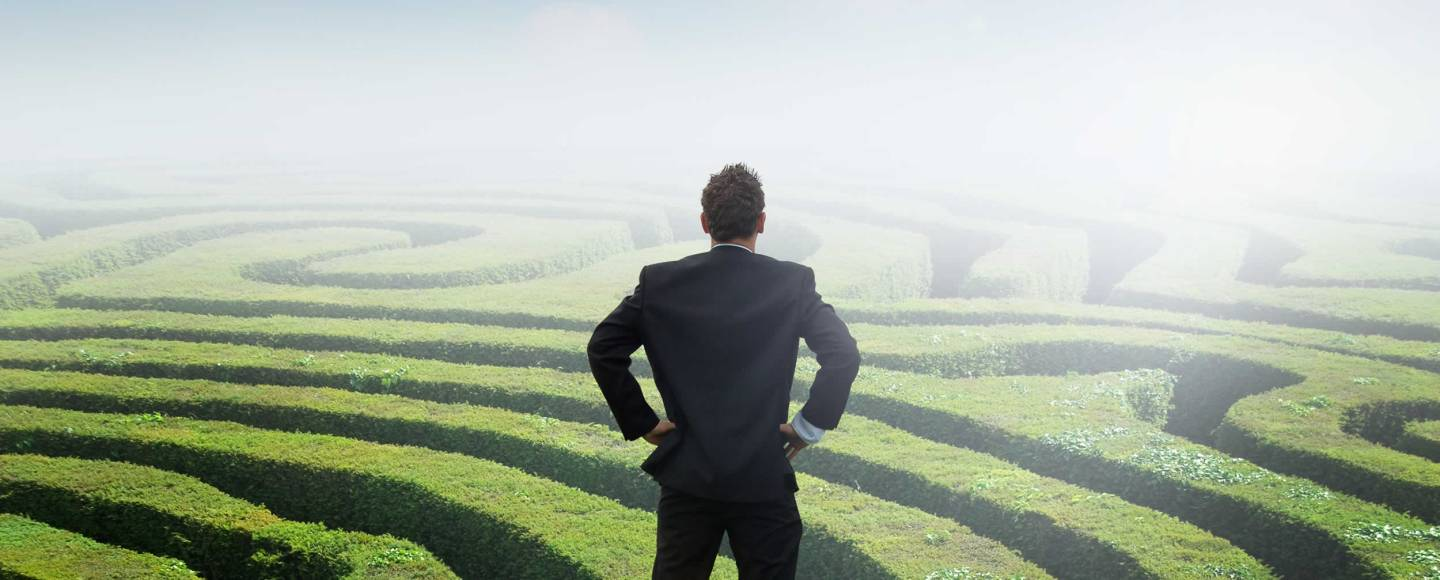 Man gazing out over maze searching for the right path
